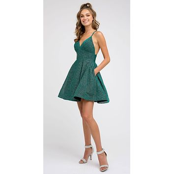 V-Neck Green Homecoming Short Dress with Pockets