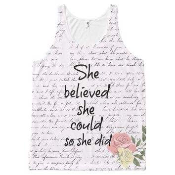 She Believed she Could so She Did Quote All-Over Print Tank Top