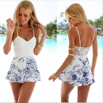 2016 Women Sexy Lace Crochet Rompers Fashion White  Floral Print Adjustable Strap Zipper Back Short Macacao Feminino Overalls