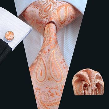 Men's Silk Coordinated Tie Set - Orange Paisley