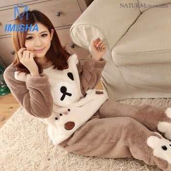 New Winter Ladies Woman's Girls Long Sleeves Round Neck Cartoon Thick Warm Coral Velvet Flannel Home Cute Bear Soft Pajama Sets
