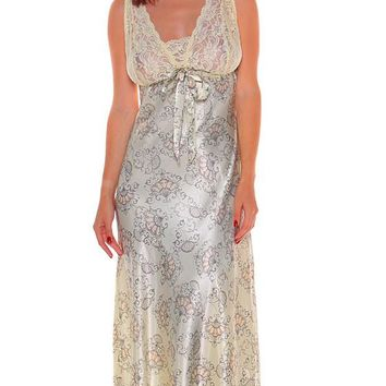 Nightgown - Satin Charmeuse Floral Print w/Stretch Lace Bodice(Small-2X)
