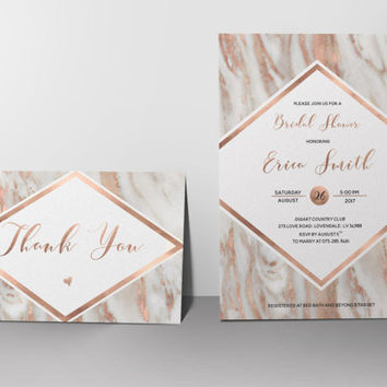 Geode Bridal Shower Invitation Printable Modern Rose Gold Bridal Shower Invite Blush Grey Marble Bridal Shower Invite Digital or Printed