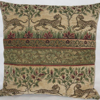 """Cheetah Scenic Tapestry Chenille Pillow 19"""" Sq, Medieval Leopard & Trees in Beige Green Red Brown, Only One and Ready to Ship"""