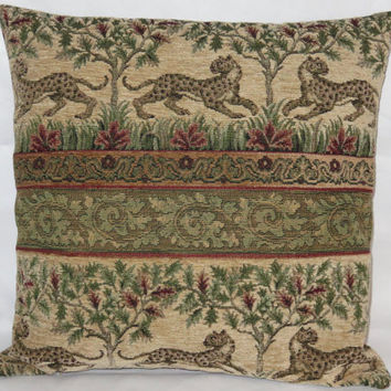 "Cheetah Scenic Tapestry Chenille Pillow 19"" Sq, Medieval Leopard & Trees in Beige Green Red Brown, Only One and Ready to Ship"