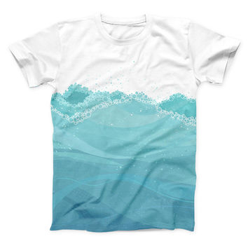 The Abstract WaterWaves ink-Fuzed Unisex All Over Full-Printed Fitted Tee Shirt