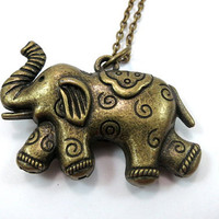 Bronze Elephant Necklace Long Necklace Boho Necklace Statement Necklace