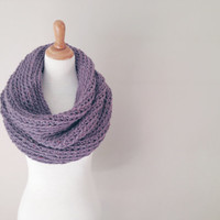 Oversized Chunky Snood Scarf, Infinity Cowl in the color purple, Neutral, Rustic scarf, Chunky warm scarf, gift for her, natural scarf