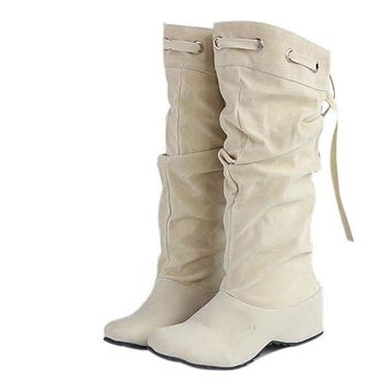 Women Casual Mid Calf Suede Boots Leather Elevator Shoes