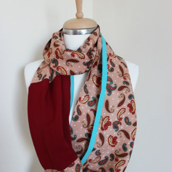 Burgundy Green Scarf, Paisley Scarf, Printed Scarf, Teal Green Salmon Burgundy Scarf, Paisley Scarf, Gift for Her, Floral Scarf, Scarf Angel