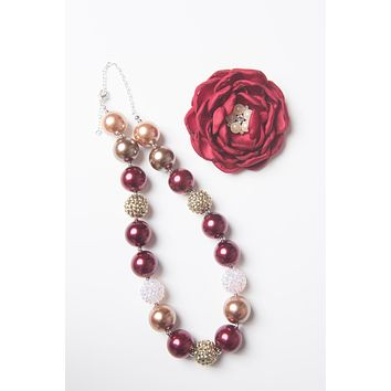 Burgundy & Gold Christmas necklace