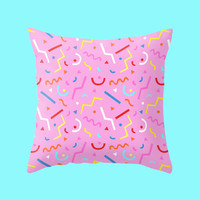 Eighties Pillow Case - pink cushion cover with party memphis pattern 80s style pop art