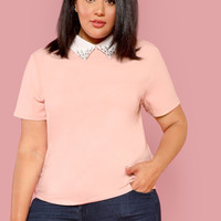 Plus Contrast Beaded Collar Blouse