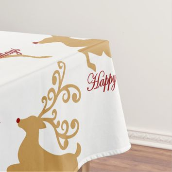 """Happy Holidays"" Rudolph Reindeer Tablecloth"