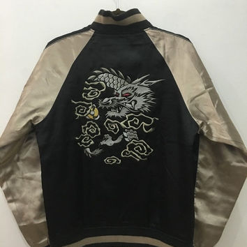 April Sale Vintage 80s 90s Sukajan Silver Dragon Yokosuka Jacket Embroidery Souvenir Satin Jacket Size M #J123