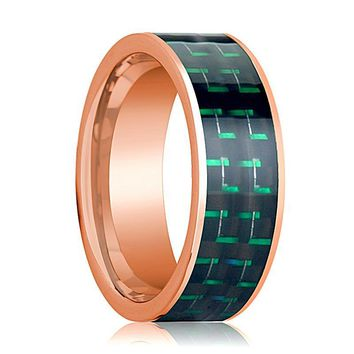 Mens Wedding Band 14K Rose Gold with Black & Green Carbon Fiber Inlay Flat Polished Design