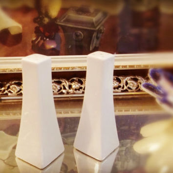 Vintage Porcelain 1940s Salt and Pepper Shakers White Ivory