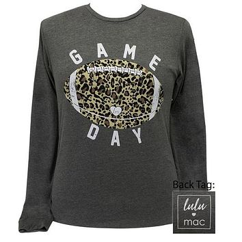 Girlie Girl Originals Lulu Mac Preppy Leopard Game Day Football T-Shirt