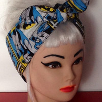 Superhero Headband made from BATMAN Fabric Tie COMICS Style Head Wrap Scarf Bandana