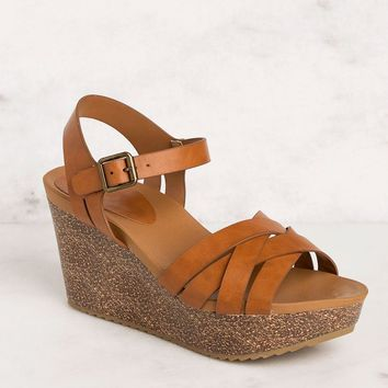Can't Help It Tan Wedges
