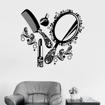 Wall Decal Beauty Salon Cosmetics Nails Makeup Woman Girl Vinyl Mural (ig2970)