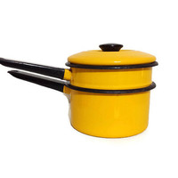 Enameled Pan Yellow Metal Pan Enamel Double Boiler With Lid Vintage Enamelware