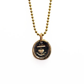 Hope and Love- Medieval Anchor and Heart Wax Seal