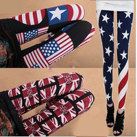 The American flag the graffiti Momao milk silk leggings nine points thin section super wild