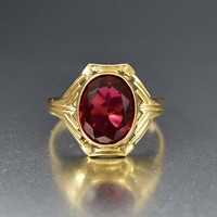 Art Deco 10K Gold Simulated Ruby Ring