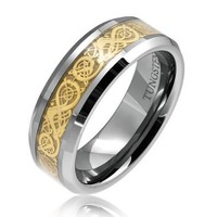 Bling Jewelry Tungsten Celtic Dragon Gold Plated Inlay Comfort Fit Wedding Band