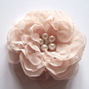 Elegant  Champagne Chiffon Bridal Wedding Flower Hair Clip, Bride, Bridesmaid, Mother of the Bride with Pearl  and Rhinestone Accent