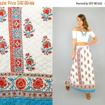 MAY SALE 70's Ethnic Quilted Maxi Skirt