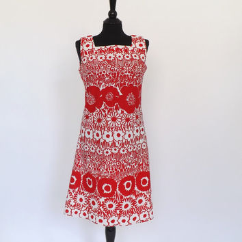 Vintage 1960s 70s Mod Red White Floral Poppies Mini Cocktail Dress Bayard Sundress Short Shift Dress Groovy Size Small Medium Twiggy