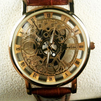 Genuine Leather Strap Automatic Mechanical Watch Men
