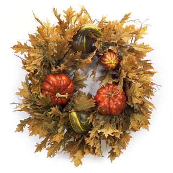 Falling Leaves Collection Oversized Pumpkin/Gourd Wreath