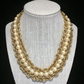 Monet Faux Pearl Bead Necklace Double Chunky Gold tone Chain Signed Mid Century Bridal Jewelry 318
