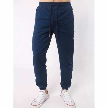 Number Embroidered Zipper Bmbellished Chino Jogger Pants - Deep Blue L