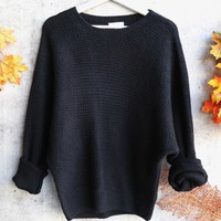 aspen womens chunky crew neck sweater - black
