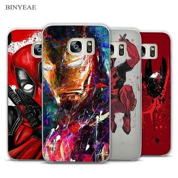 Deadpool Dead pool Taco BINYEAE Cool Hero SuperMan Iron Man  Transparent Phone Case Cover for Samsung Galaxy S3 S4 S5 S6 S7 S8 Edge Plus Mini AT_70_6