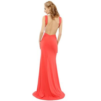 Sexy Scoop Peach Prom Dresses New Elegant Women Party Dresses Special Occasion Dress