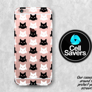 Cat Pattern Clear iPhone 6s Case iPhone 6 Case iPhone 6 Plus iPhone 6s Plus iPhone 5c iPhone 5 iPhone SE Clear Case Black White Kitty Kitten