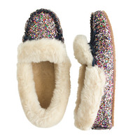 Girls Glitter Shearling Lodge Moccasins