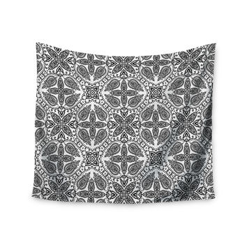 "Nandita Singh ""Boho In Black And White"" Grey Pattern Wall Tapestry"