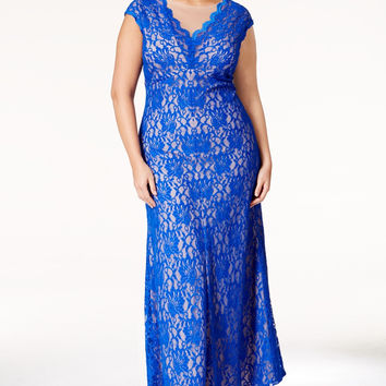 XSCAPE Plus Size Lace V-Neck Gown