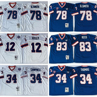 Best Throwback 34 Thurman Thomas Jersey Man 78 Bruce Smith 83 Ander Reed 12 Jim Kelly Home Blue Road Away White Embroidery Quality
