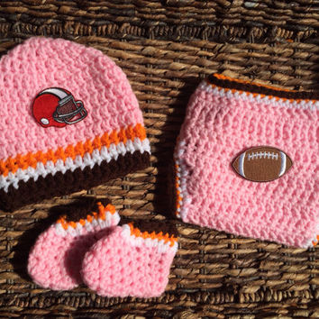 Crochet Cleveland Browns Pink Football Theme Baby Diaper Cover Beanie Gift Set