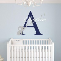 Custom Name Elephant Wall Stickers For Kids Room Personalized Boys Name Bedroom Nursery Wall Art Pic Baby Vinyl Wall Decals J671