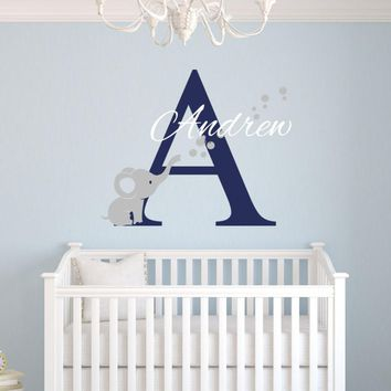 Custom Name Elephant Wall Stickers For Kids Room Personalized Bo