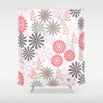 "Shower Curtain - 'Floral in Coral and Gray' - 71"" by 74"" Home, Decor, Bathroom, Boho, Dorm, Girl, Christmas, Gift, Floral, Abstract,Nature"
