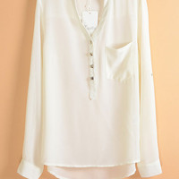 V-Neck Long Sleeve Patch Pocket Chiffon Blouse